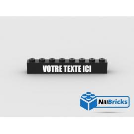 Brique Lego1x8 Noir avec gravure personnalisée