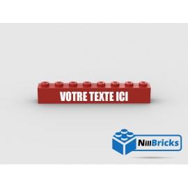 Brique Lego1x8 Rouge avec gravure personnalisée