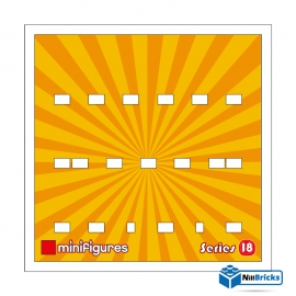 CADRE POUR MINIFIGURES (MINIFIGS) LEGO SERIE 18 25 X 25 CM BLANC NILLBRICKS ref : CM00053