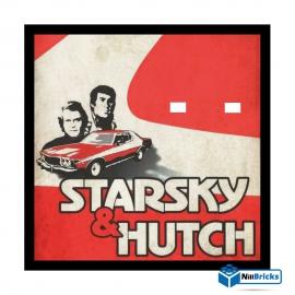 CADRE POUR MINIFIGURES (MINIFIGS) LEGO SUR DEMANDE STARSKY ET HUTCH 25 X 25 CM NOIR NILLBRICKS ref : CM00074