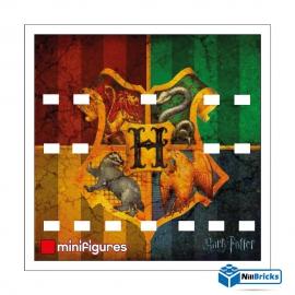 CADRE POUR MINIFIGURES (MINIFIGS) LEGO SUR DEMANDE HARRY POTTER V2  25 X 25 CM BLANC NILLBRICKS ref : CM00083